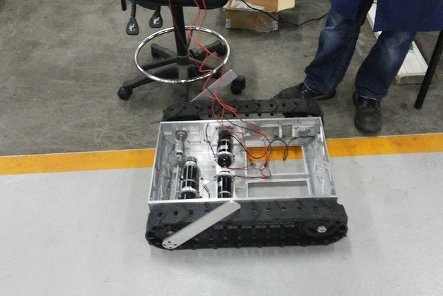 Senior Design Project using the SuperDroid Robots Agressive Track System with Flipper Arm