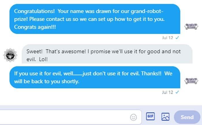 Robot winner