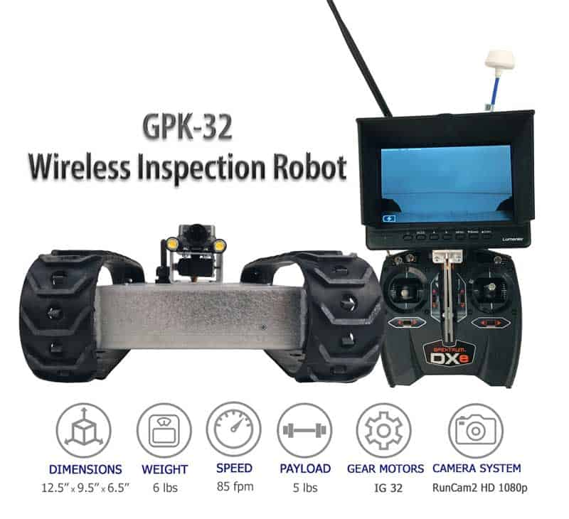 SuperDroid Robots GPK-32 Wireless Inspection Robot, inspection robots, long range wireless robot, compact inspection robot