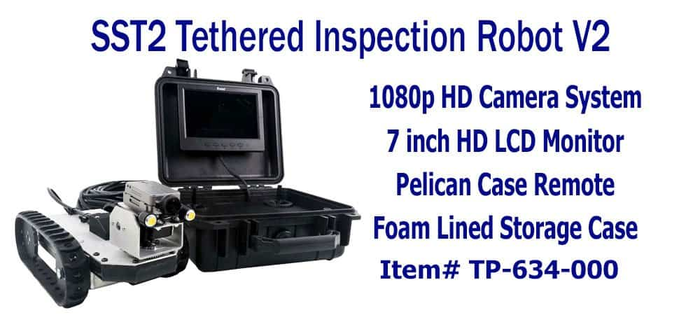 SuperDroid Robots Inspection Robot, inspection robots, compact inspection robot, tethered inspection robot